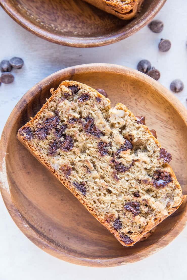 Gluten-Free Banana Bread sweetened mostly with bananas and a touch of coconut sugar for a healthier banana bread recipe