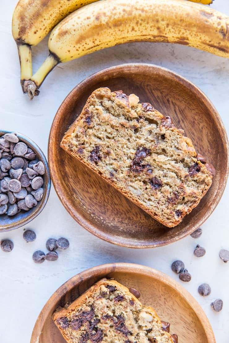 The Best Banana Bread Recipe made with gluten-free flour and sweetened with coconut sugar, studded with chocolate chips