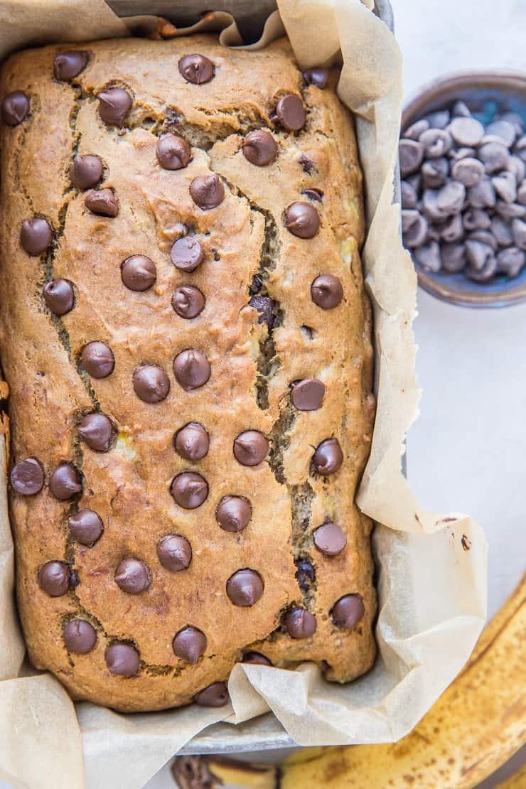 Healthy Banana Bread Recipe made gluten-free and refined sugar-free. The BEST banana bread recipe!