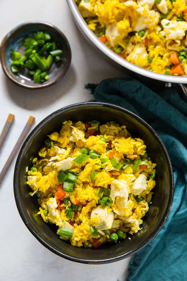 Turmeric Chicken Fried Rice with Vegetables - a healthy vibrant side dish that is gluten-free and soy-free