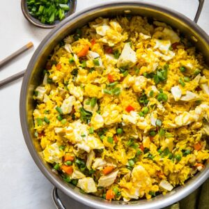 Turmeric Chicken Fried Rice - a vibrant, easy delicious gluten-free side dish