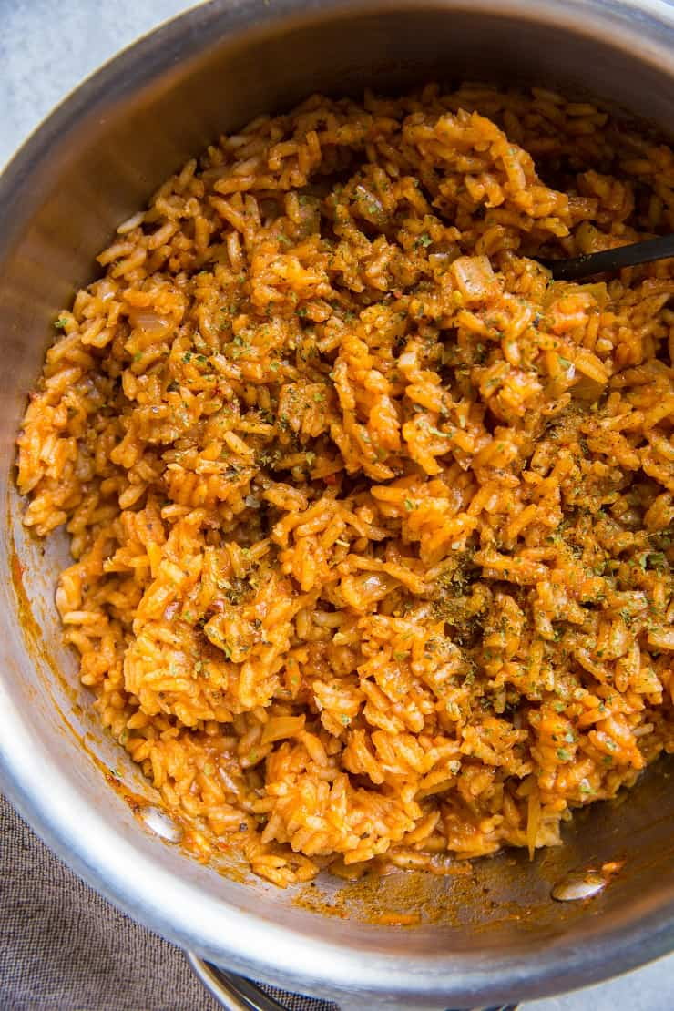 saucepan of spanish rice