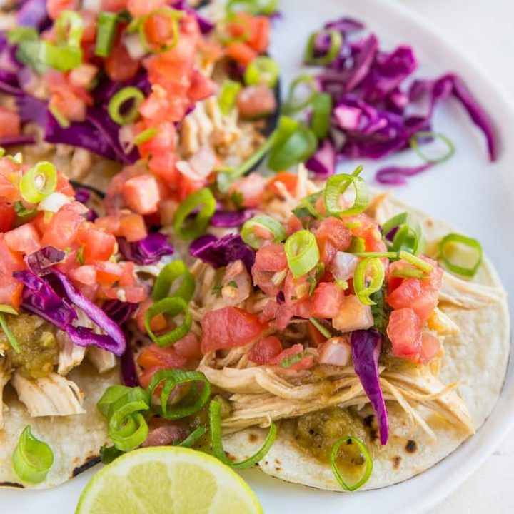 Instant Pot Shredded Chicken Tacos with pico de gallo and cabbage slaw