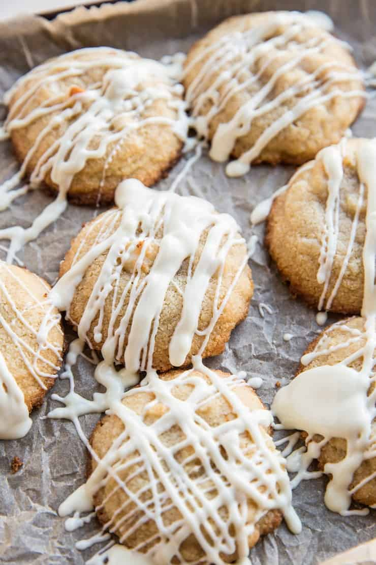 Tray of Macadamia Nut Cookies with white chocolate drizzle