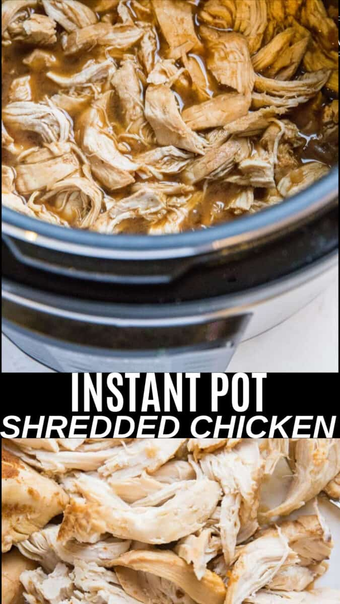 Shredded Chicken made in a pressure cooker - a quick and easy shredded chicken recipe that requires just a few ingredients and only 30 minutes from start to finish! Post includes all sorts of options for changing up the flavors.