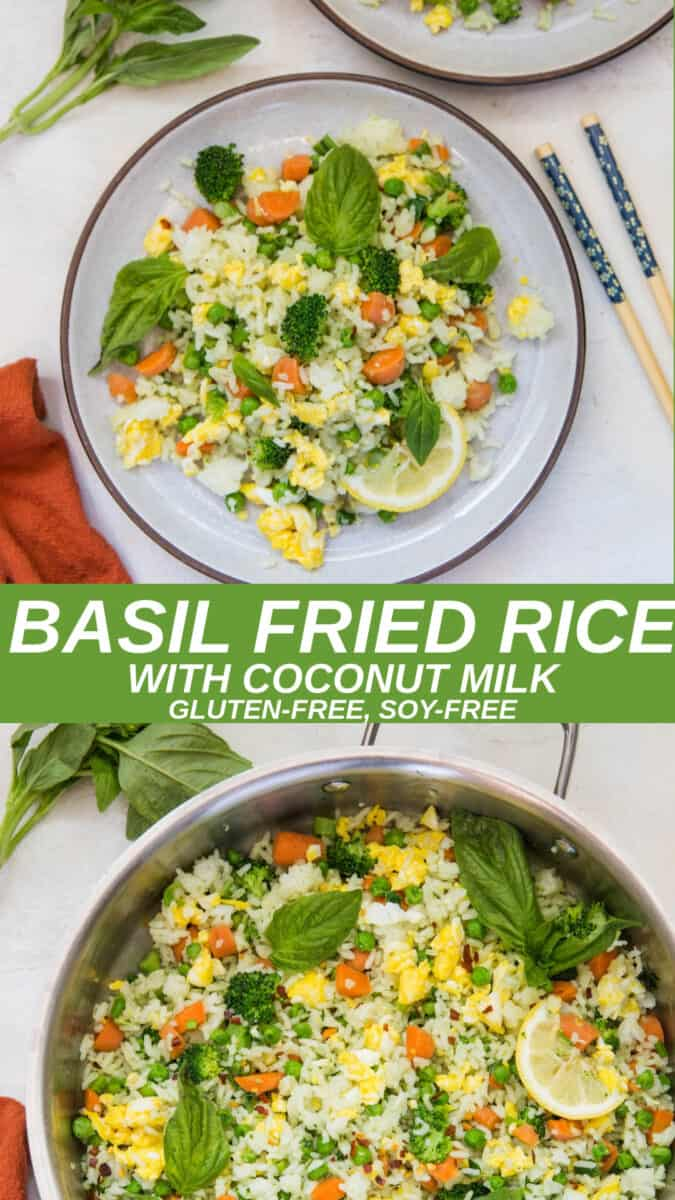 Collage of two images of basil fried rice