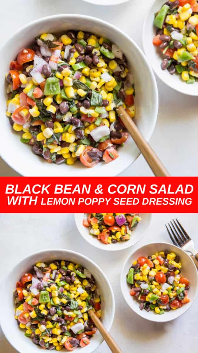 Black Bean Corn Salad with bell pepper, red onion and lemon poppy seed dressing
