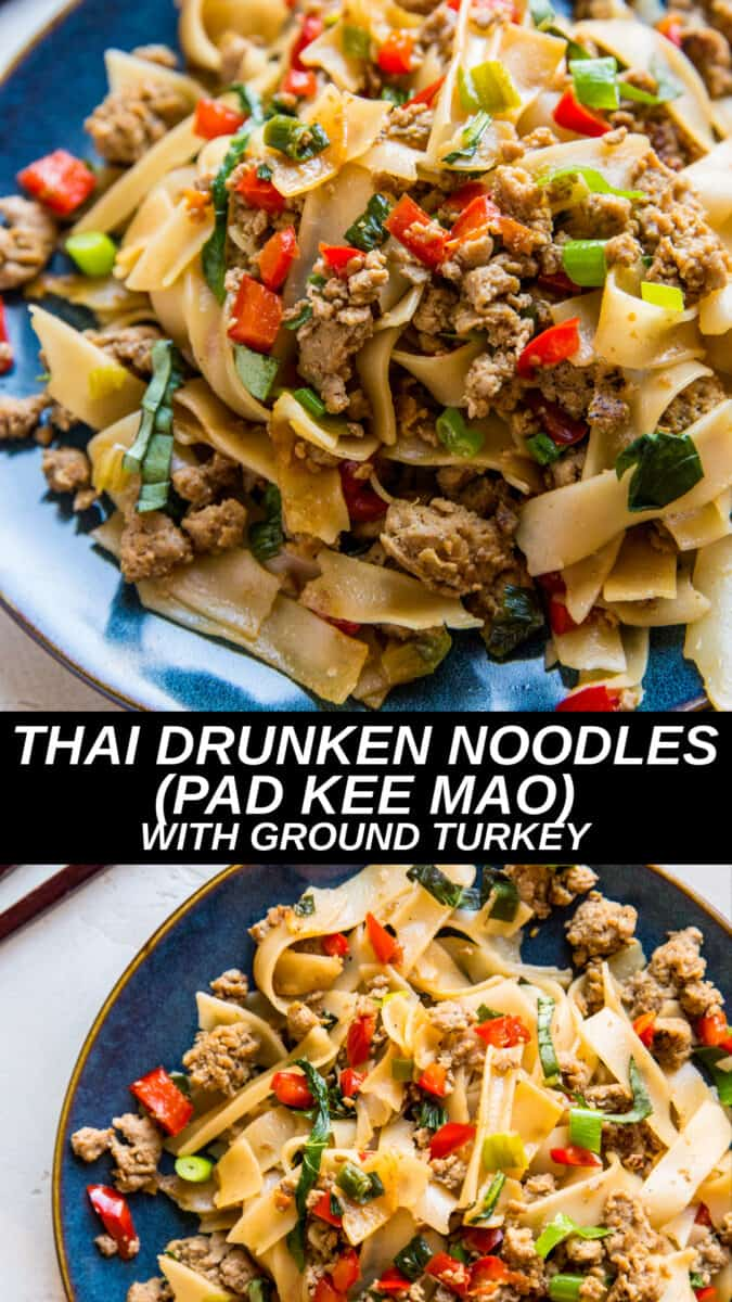 Thai Drunken Noodles (Pad Kee Mao) with Ground Turkey - gluten-free, soy-free, healthier version of the classic recipe