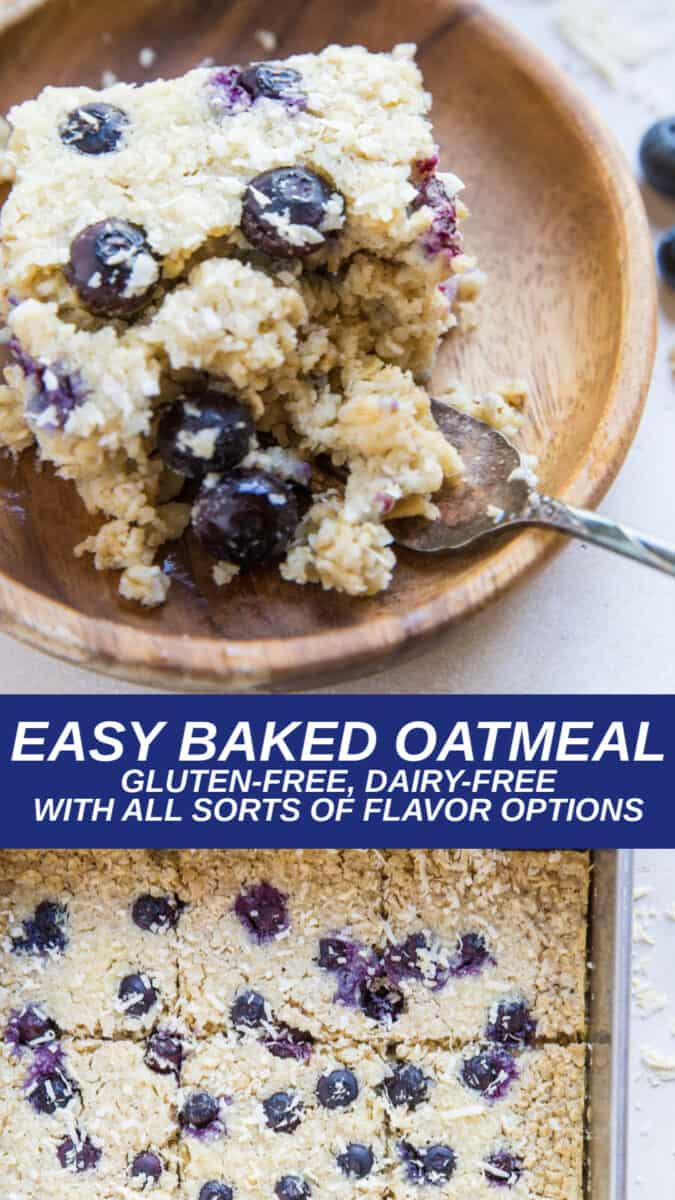 Easy Gluten-Free Baked Oatmeal with all sorts of flavor options. Dairy-free, refined sugar-free and healthy breakfast recipe