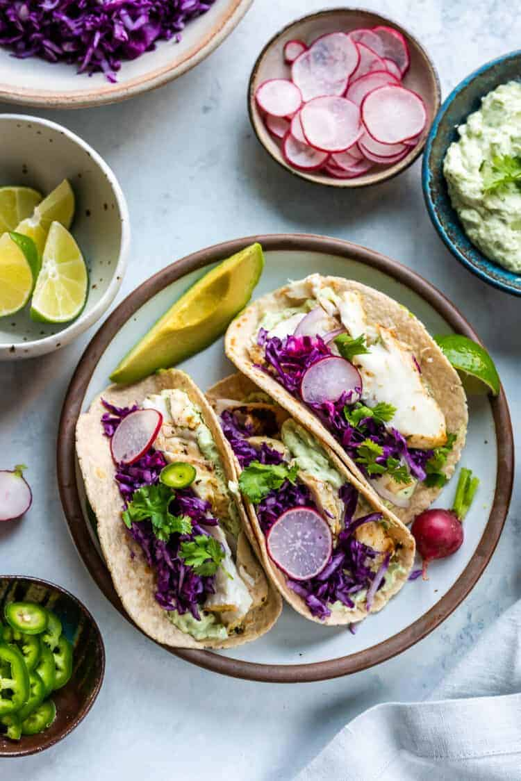 Fish Tacos with Avocado Cilantro Sauce