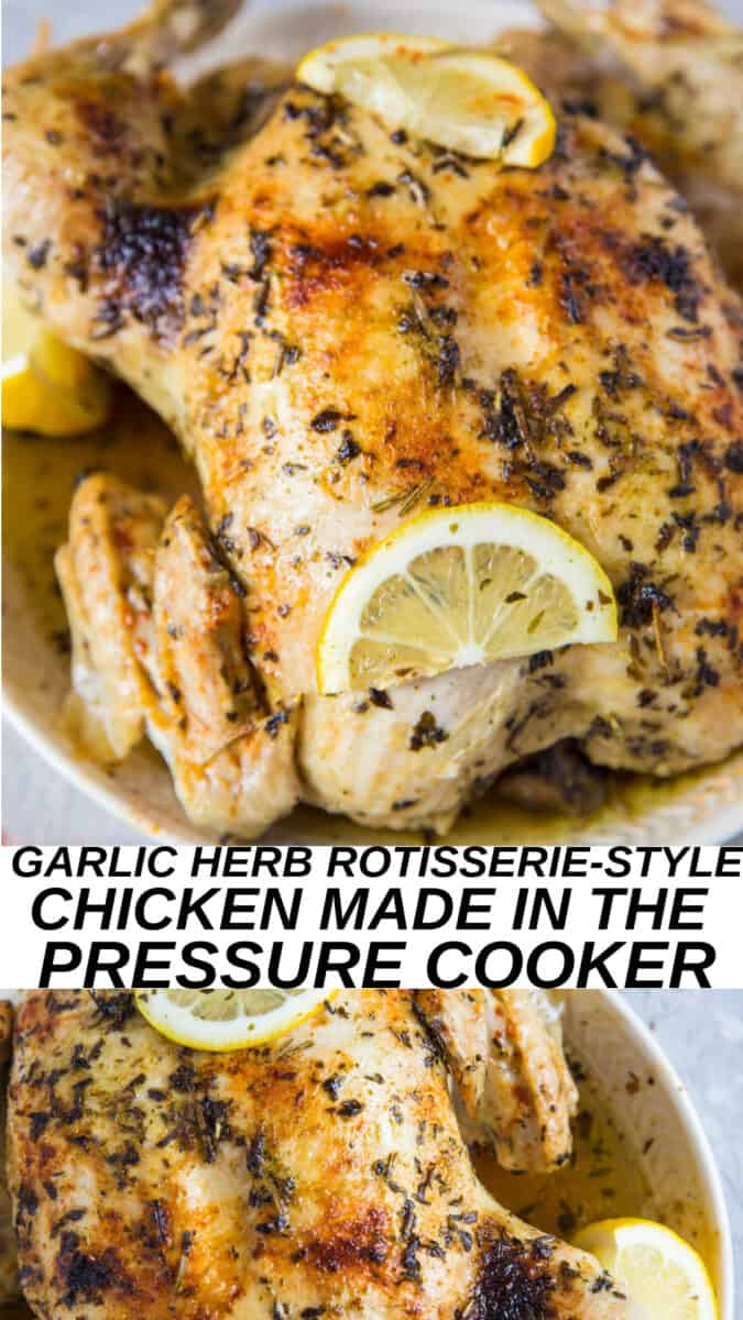 Instant Pot Garlic Herb Rotisserie Chicken is a perfectly moist and tender whole body chicken recipe prepared in the Instant Pot in 1 hour from start to finish! Make it a part of your weekly meal prep routine! #paleo #keto #whole30 #lowcarb
