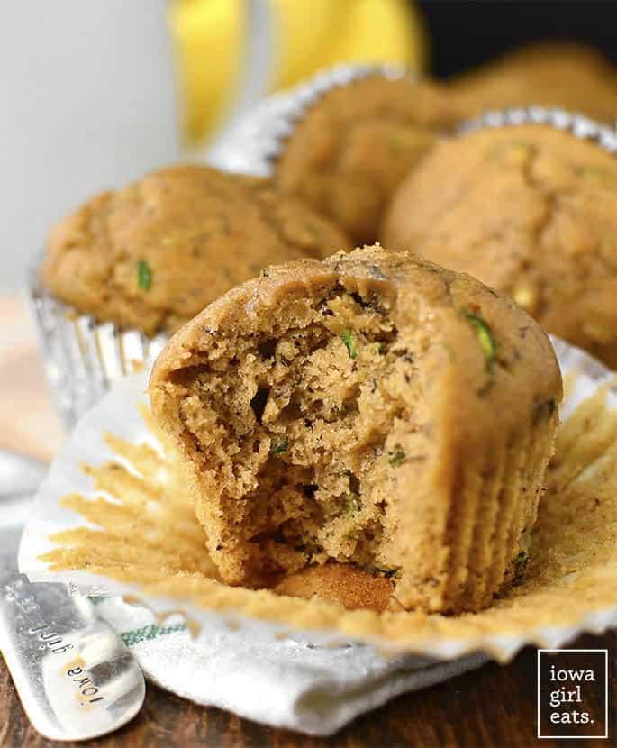 Healthier Zucchini Banana Muffins