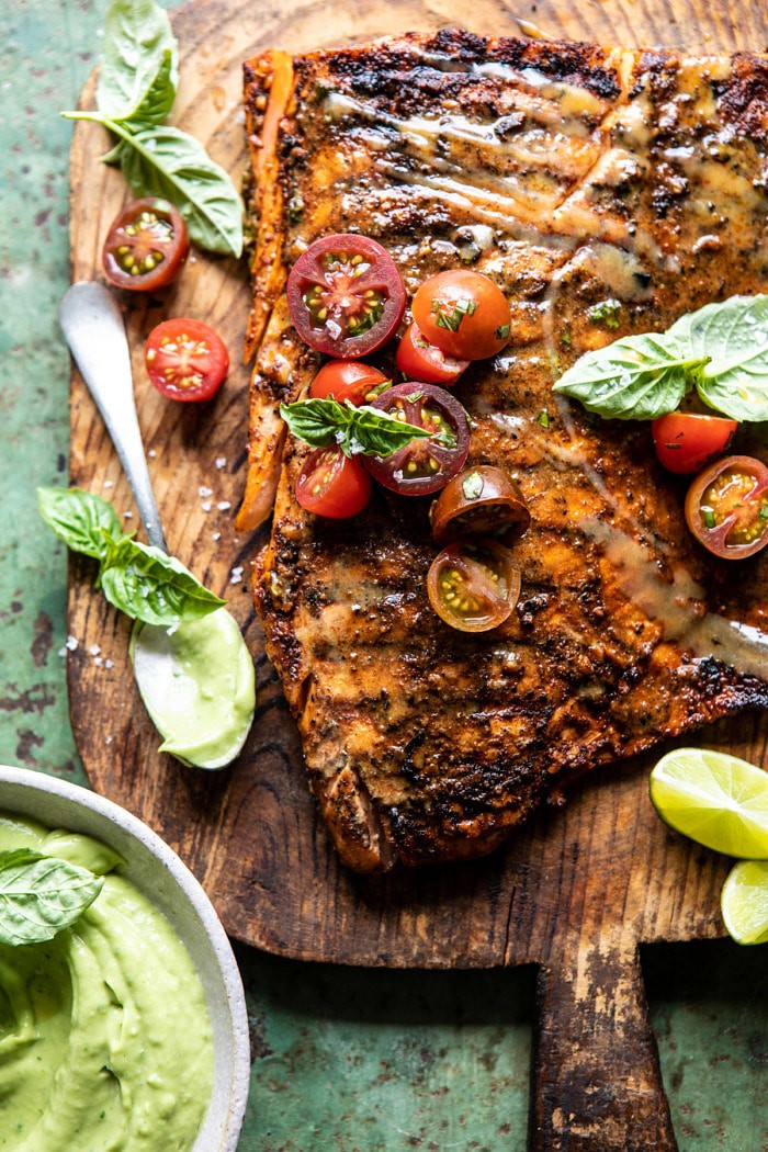 Honey Mustard Grilled Salmon with Avocado Basil Sauce