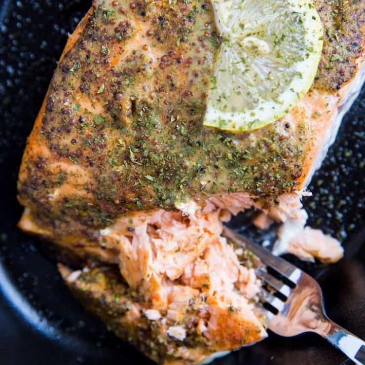 Mustard Baked salmon with lemon - only 4 ingredients and 30 minutes needed to make this recipe
