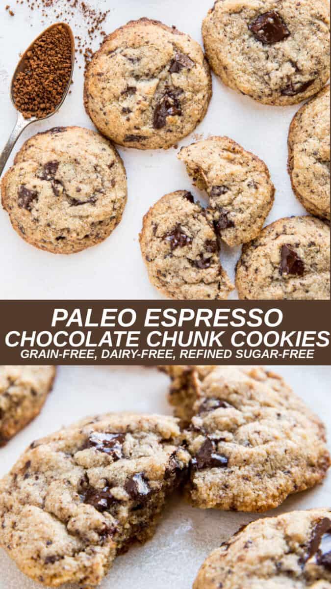 Paleo Espresso Chocolate Chunk Cookies - gluten-free, grain-free, dairy-free, refined sugar-free