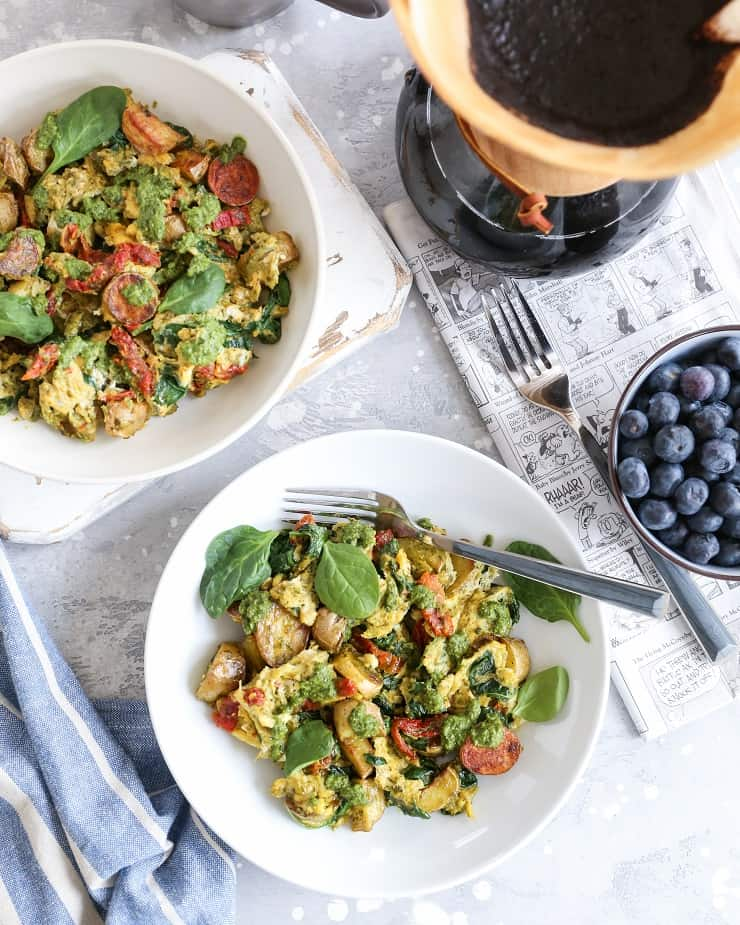 Pesto Spinach Sun-Dried Tomato Breakfast Scramble - a nutritious vegetarian breakfast recipe - paleo, gluten-free, healthy