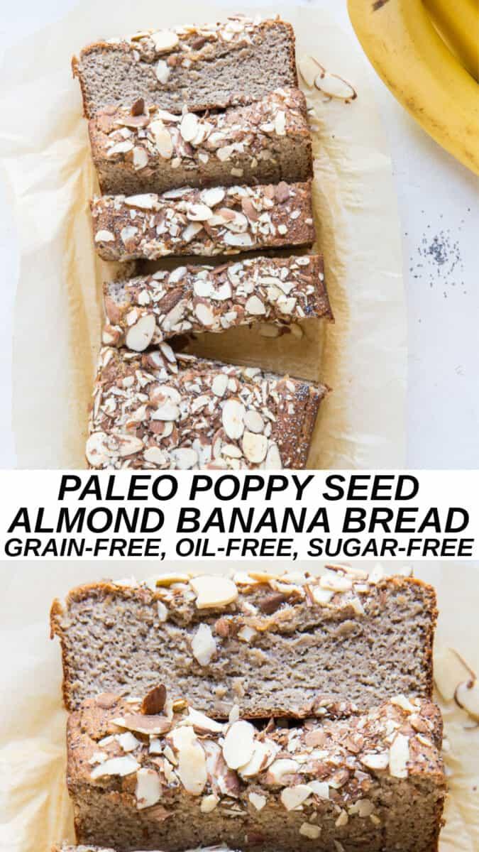 Paleo Poppy Seed Almond Banana Bread - grain-free, oil-free, no added sugar, no dairy!
