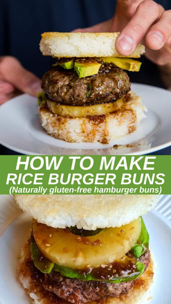 How to Make Rice Burger Buns w/ a photo tutorial. Make gluten-free rice bun burgers using sticky rice! This fun method results in deliciously crispy yet squishy buns for any type of burger. #glutenfree #burgers #sushi