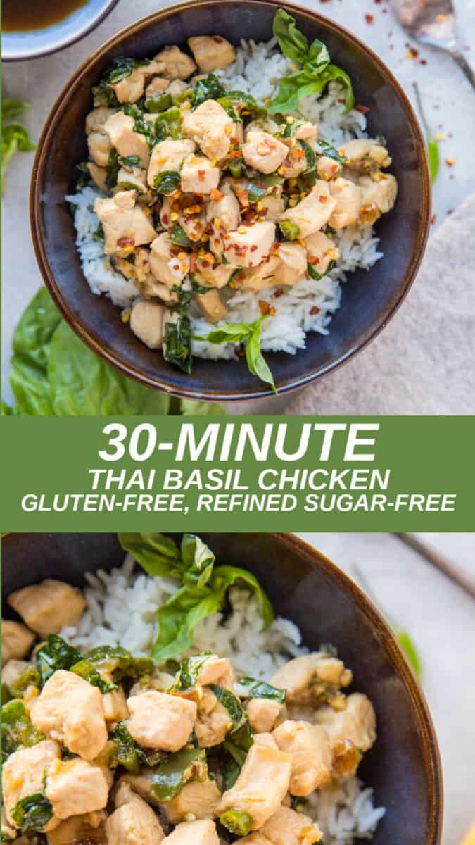 30-Minute Thai Basil Chicken made with only a few basic ingredients. Easy, flavorful, healthful, delicious!