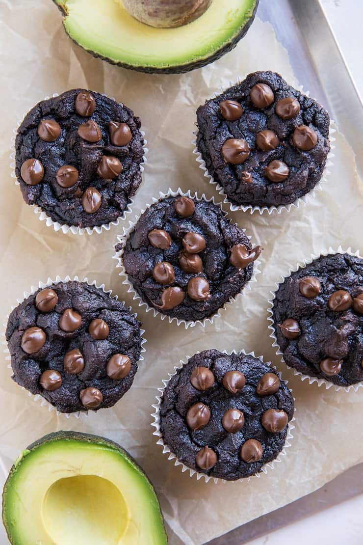 Avocado Chocolate Muffins (Paleo) - grain-free chocolate muffins made with coconut flour - refined sugar-free, dairy-free, easy to make, and fudgy!