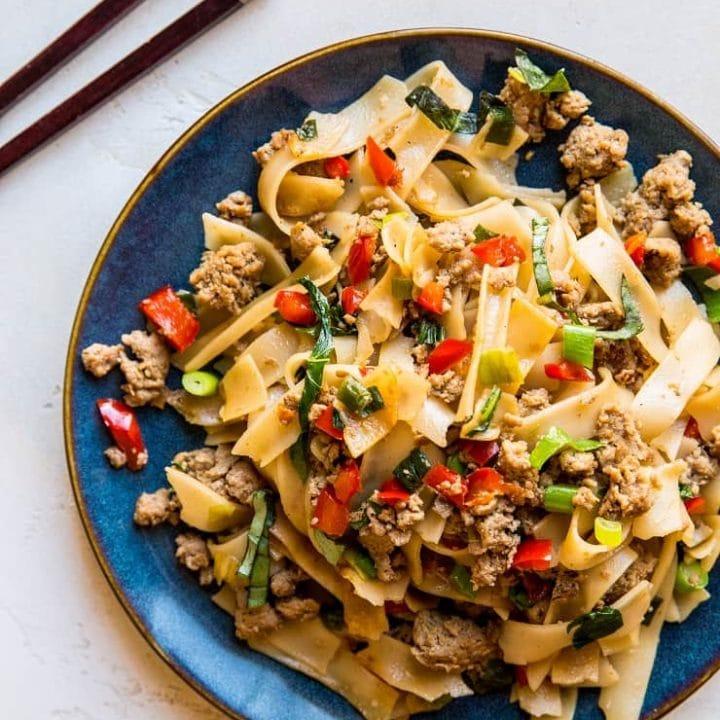 Drunken Noodles (Pad Kee Mao) with Ground Turkey - refined sugar-free