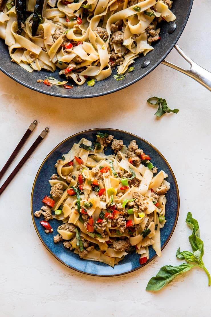 Thai Drunken Noodles (Pad Kee Mao) with Ground Turkey