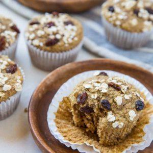 Flourless Gluten-Free Oatmeal Raisin Muffins