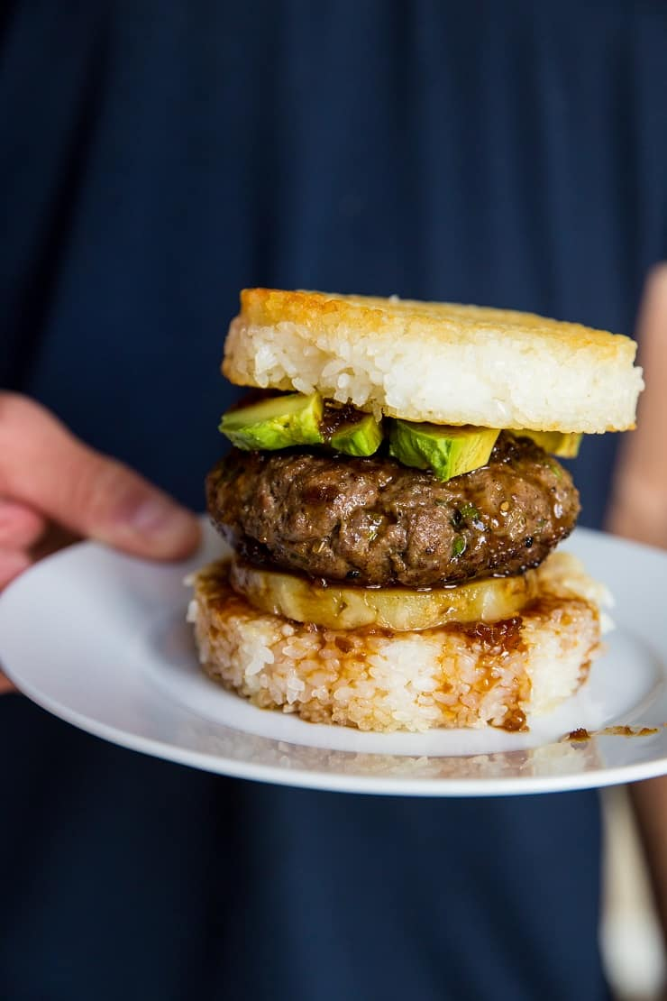 Teriyaki Burgers with Pineapple and Avocado On Rice Buns