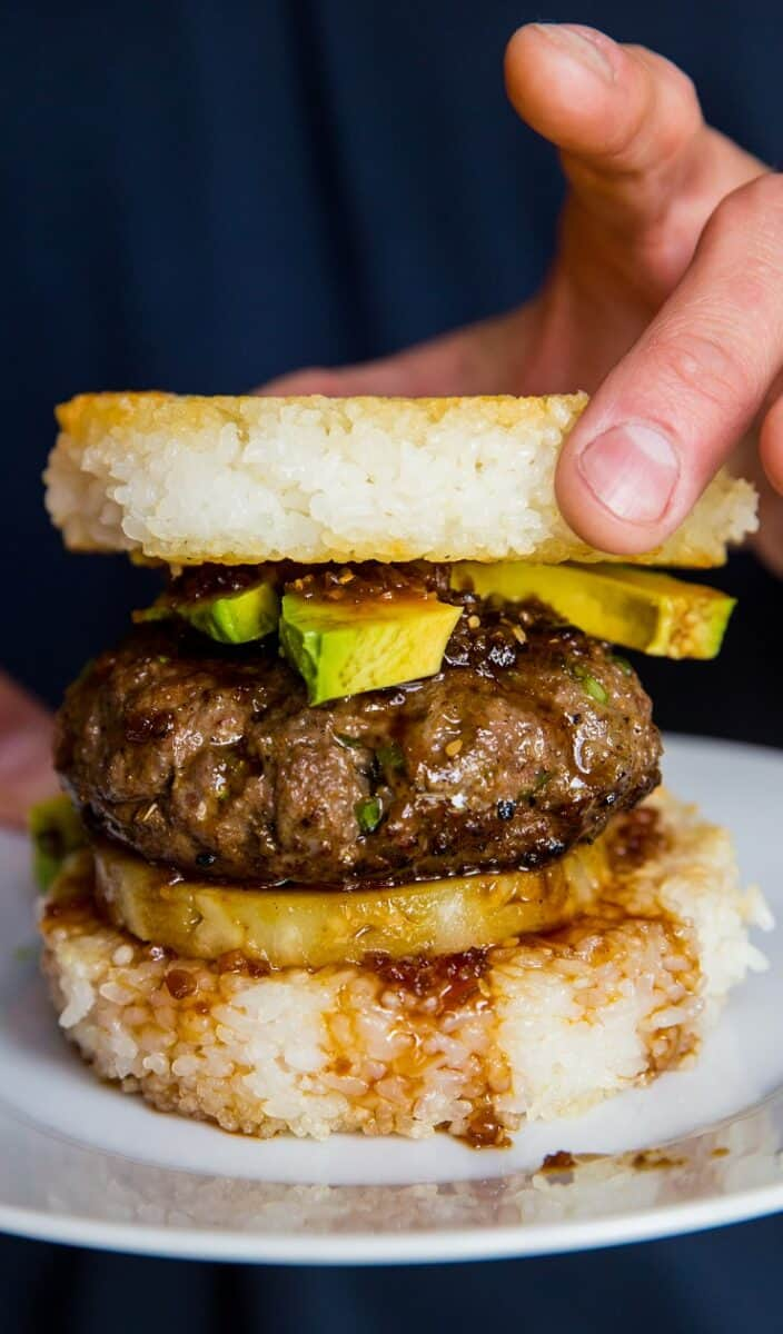 Teriyaki Burgers on Rice Buns