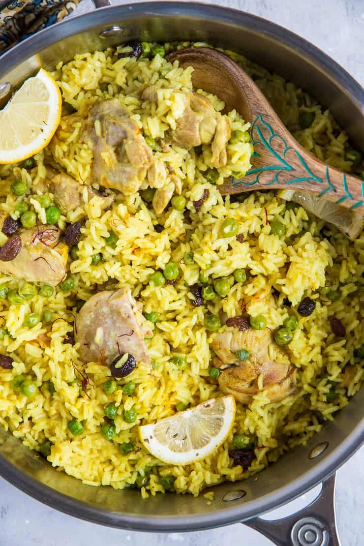 One-Pot Aromatic Saffron Chicken and Coconut Rice - a flavorful healthful fusion dinner recipe