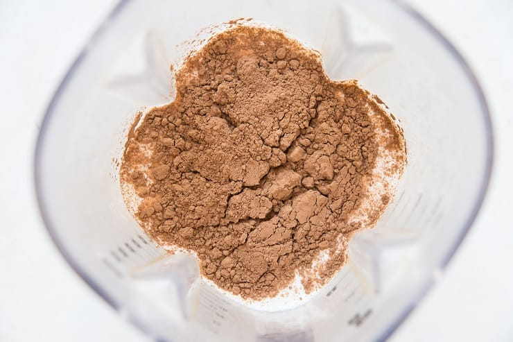 Ingredients for chocolate ice cream in a blender