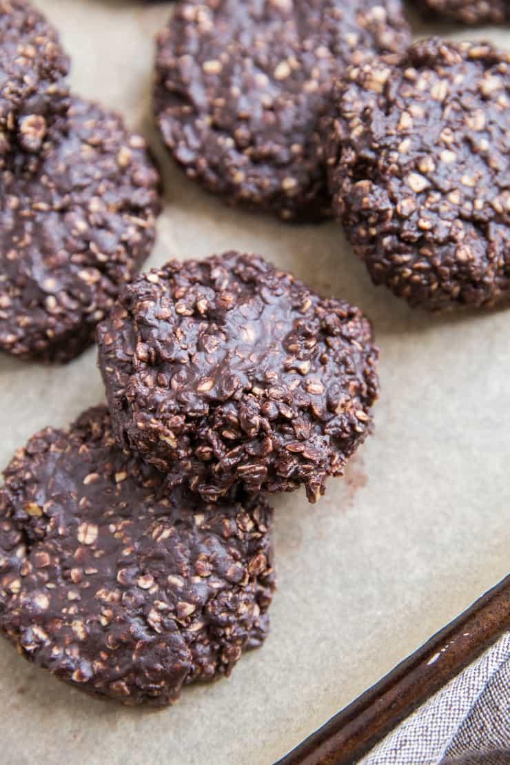 6-Ingredient No-Bake Cookies on a baking sheet
