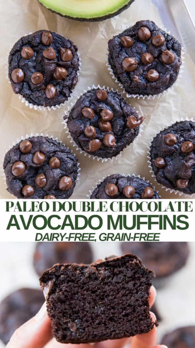 Grain-free Avocado Chocolate Muffins made with coconut flour, ripe avocados, coconut sugar, and cocoa powder are a gluten-free moist and fudgy treat! Plus, they are paleo friendly and can easily be made keto.