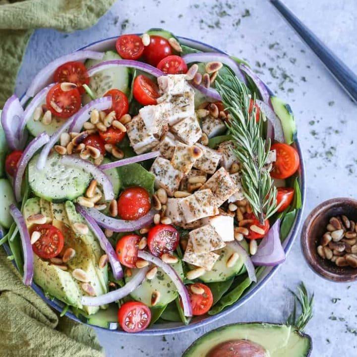Herby Greek Spinach Salad - paleo, whole30, keto