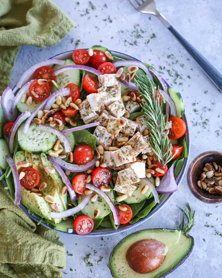 Herby Greek Spinach Salad - paleo, whole30, keto