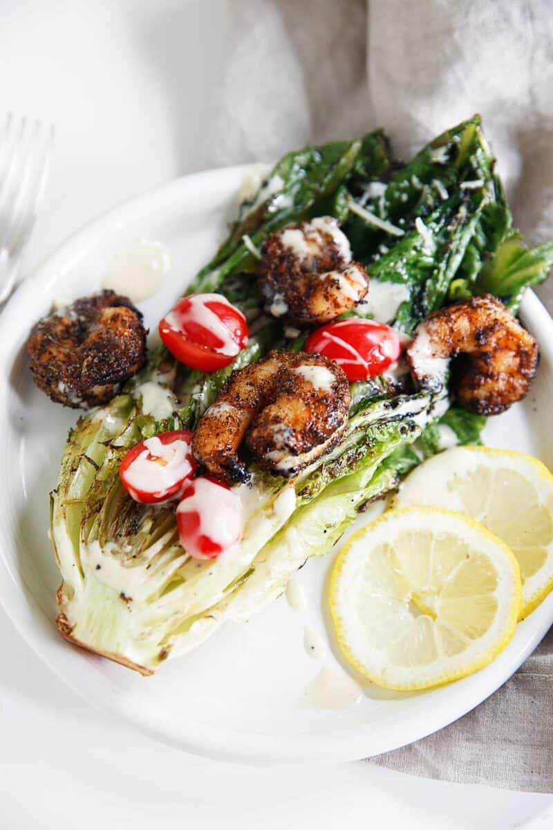 Grilled Caesar Salad with Blackened Shrimp
