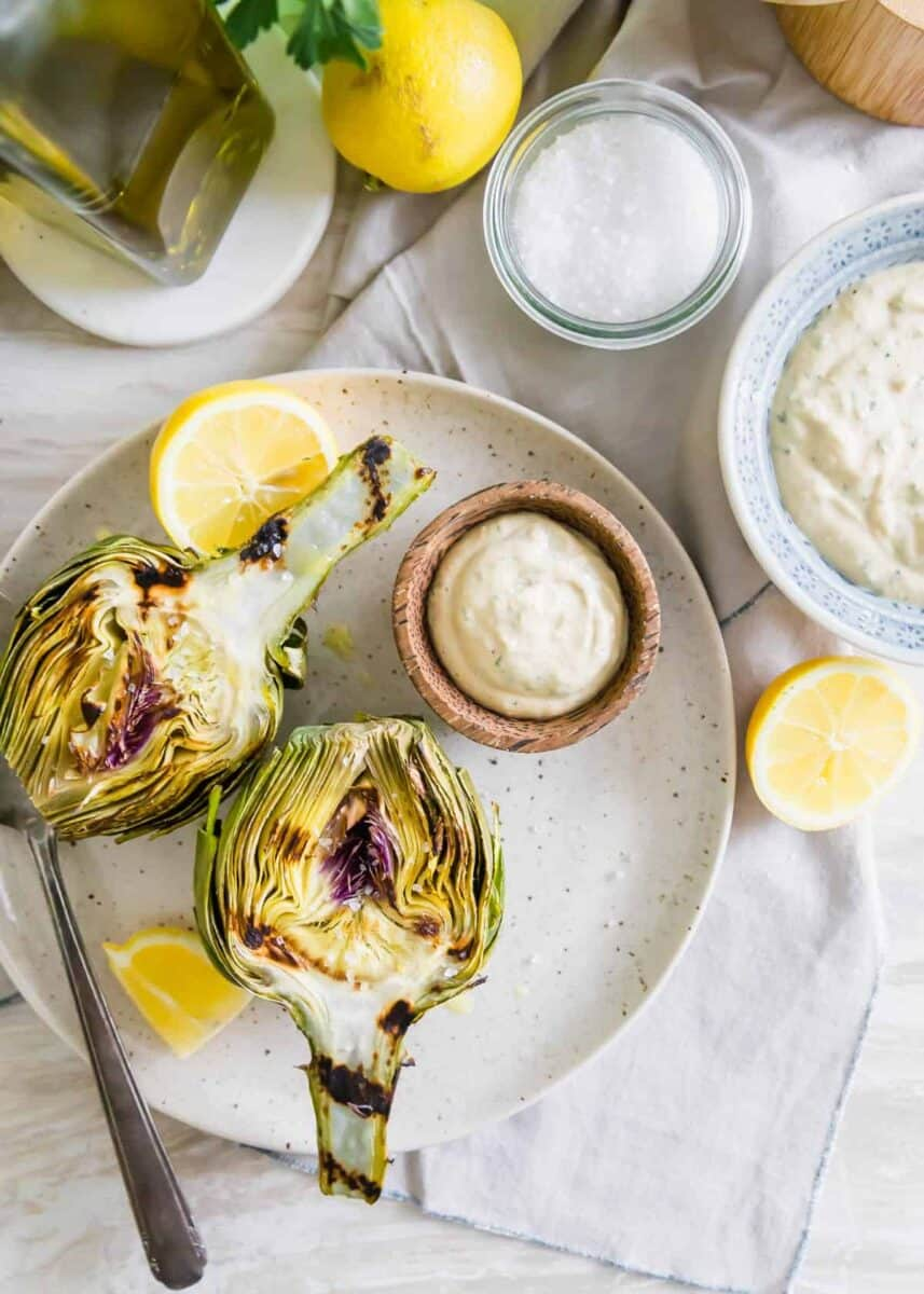 Grilled Artichokes with Lemon Tahini Sauce