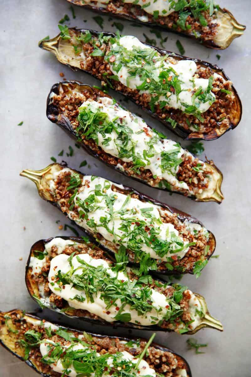Loaded Grilled Eggplant with Creamy Herb Sauce