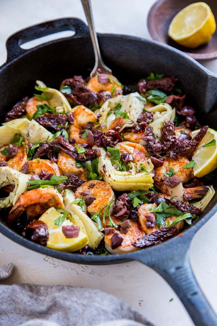 20-Minute Mediterranean Shrimp Skillet with Sun-Dried Tomatoes and Artichoke Hearts - an easy low-carb dinner recipe.