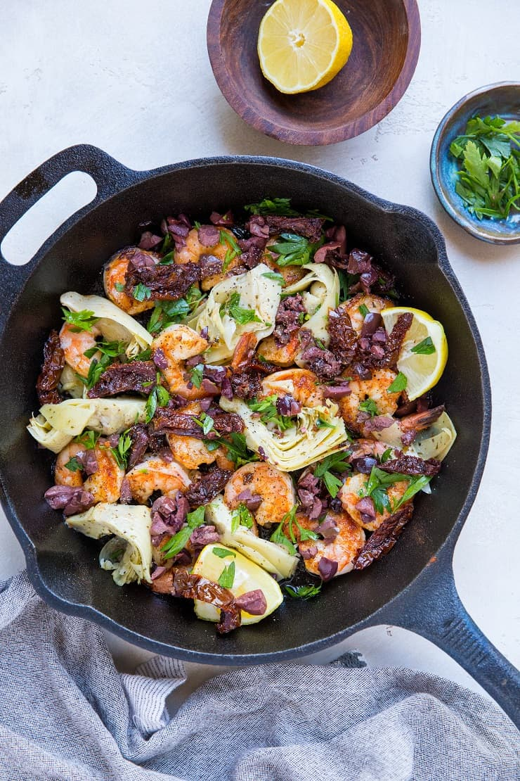 Mediterranean Shrimp Skillet - a healthy meal that comes together in 20 minutes!