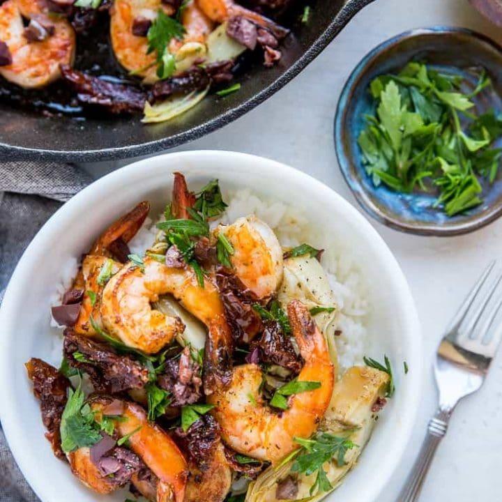 Mediterranean Shrimp Skillet with 8 basic ingredients, ready in 30 minutes!