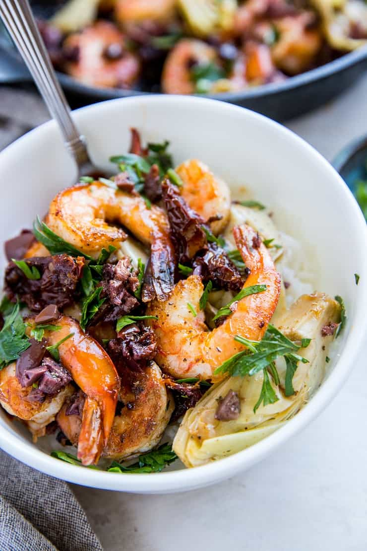 One-Skillet Mediterranean Shrimp with Sun-Dried Tomatoes and Artichoke Hearts - paleo, keto, low-carb, whole30