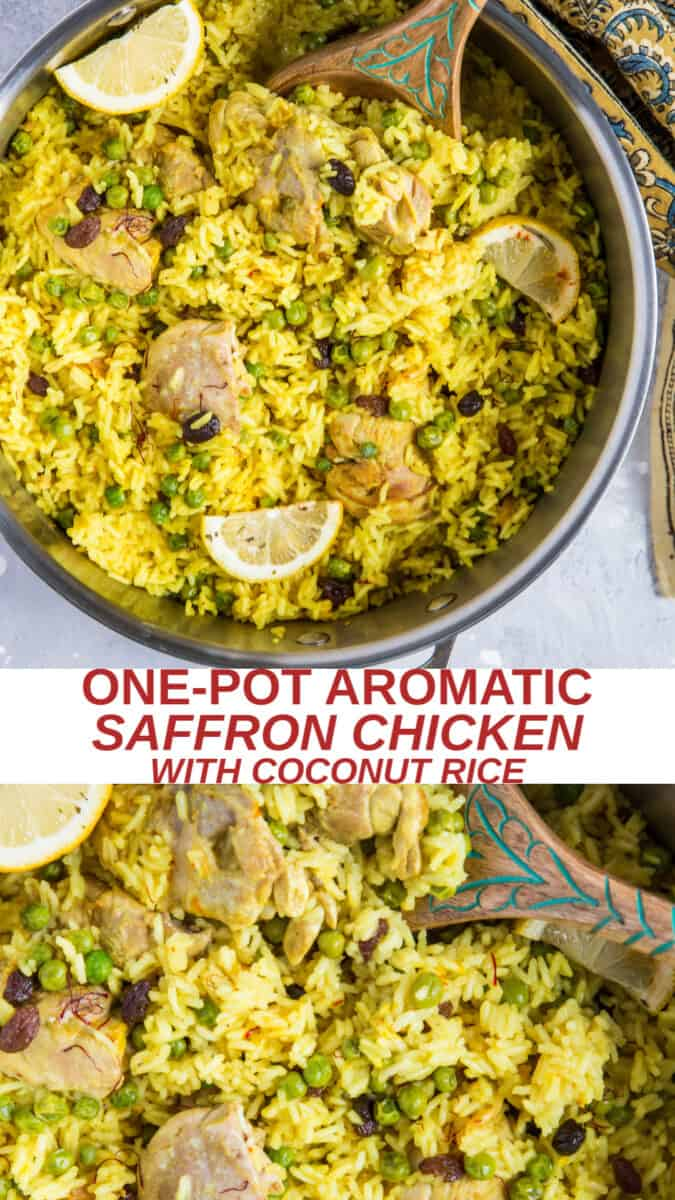 One-Pot Saffron Chicken with Coconut Rice - an easy, delicious fusion recipe requiring minimal prep or cleanup!