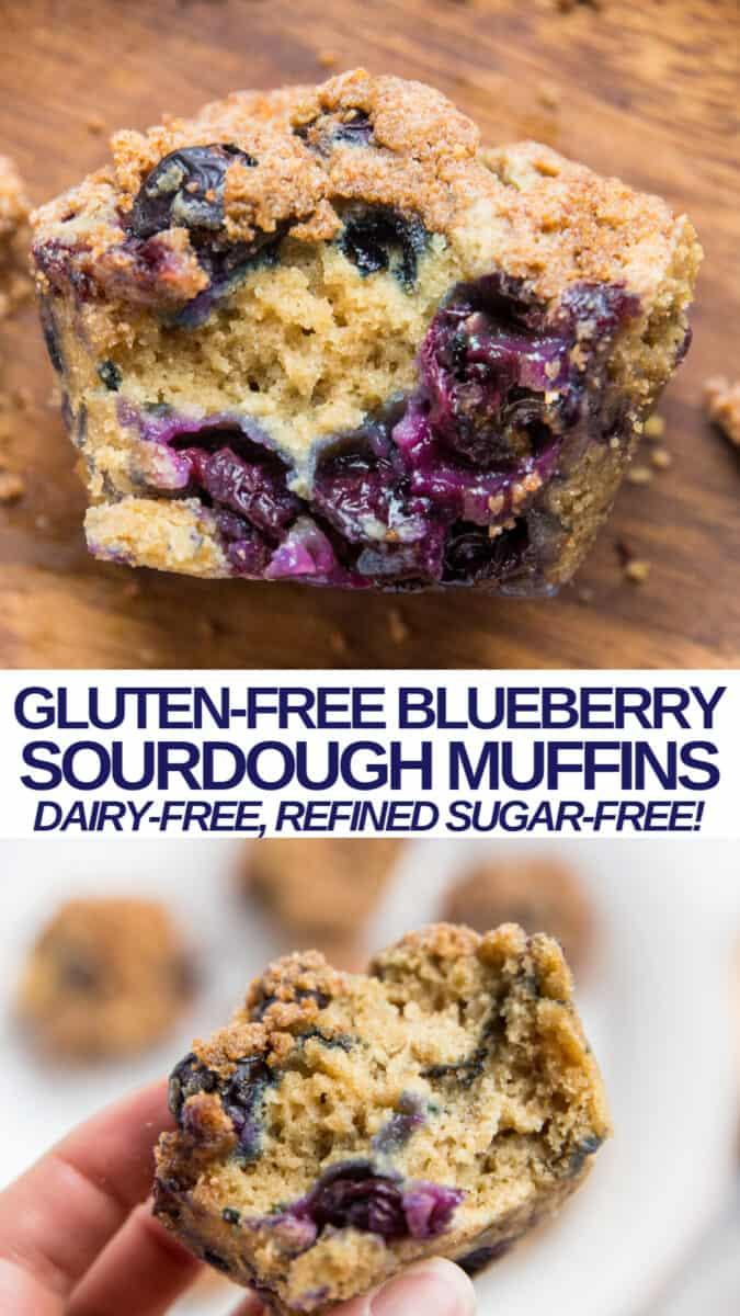 Gluten-Free Blueberry Sourdough Muffins - dairy-free, refined sugar-free, healthy