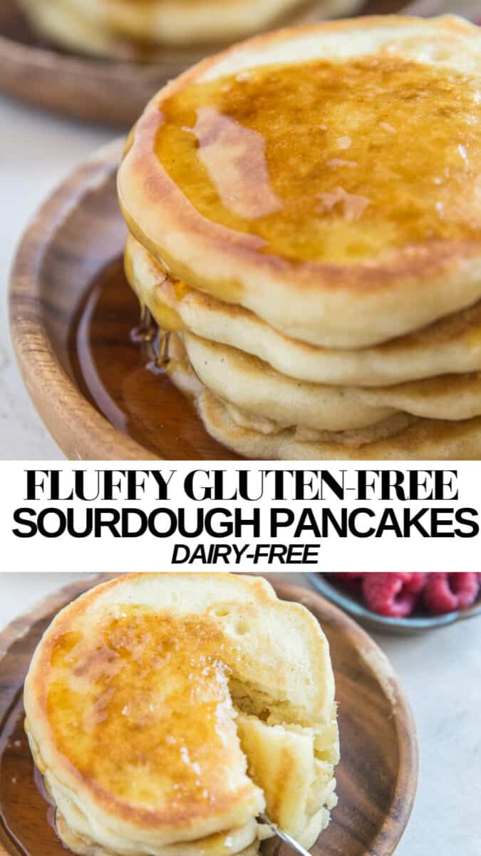 Fluffy Gluten-Free Sourdough Pancakes made dairy-free