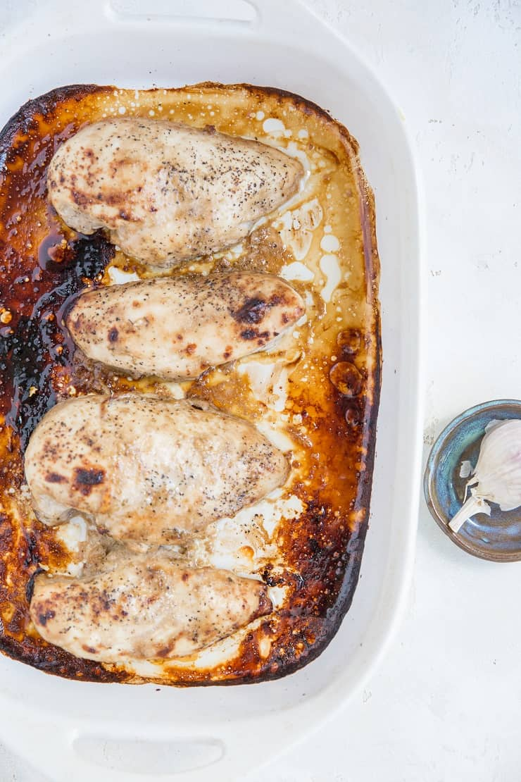 Balsamic Baked Chicken in a casserole dish