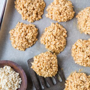 Crunchy 4-Ingredient No-Bake Peanut Butter Cookies - refined sugar-free, dairy-free and healthy!