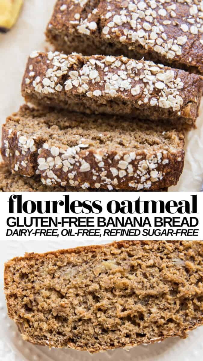 Flourless Oatmeal Banana Bread made oil-free, dairy-free, gluten-free AND refined sugar-free! This healthy banana bread recipe is fun and easy to make using quick oats.