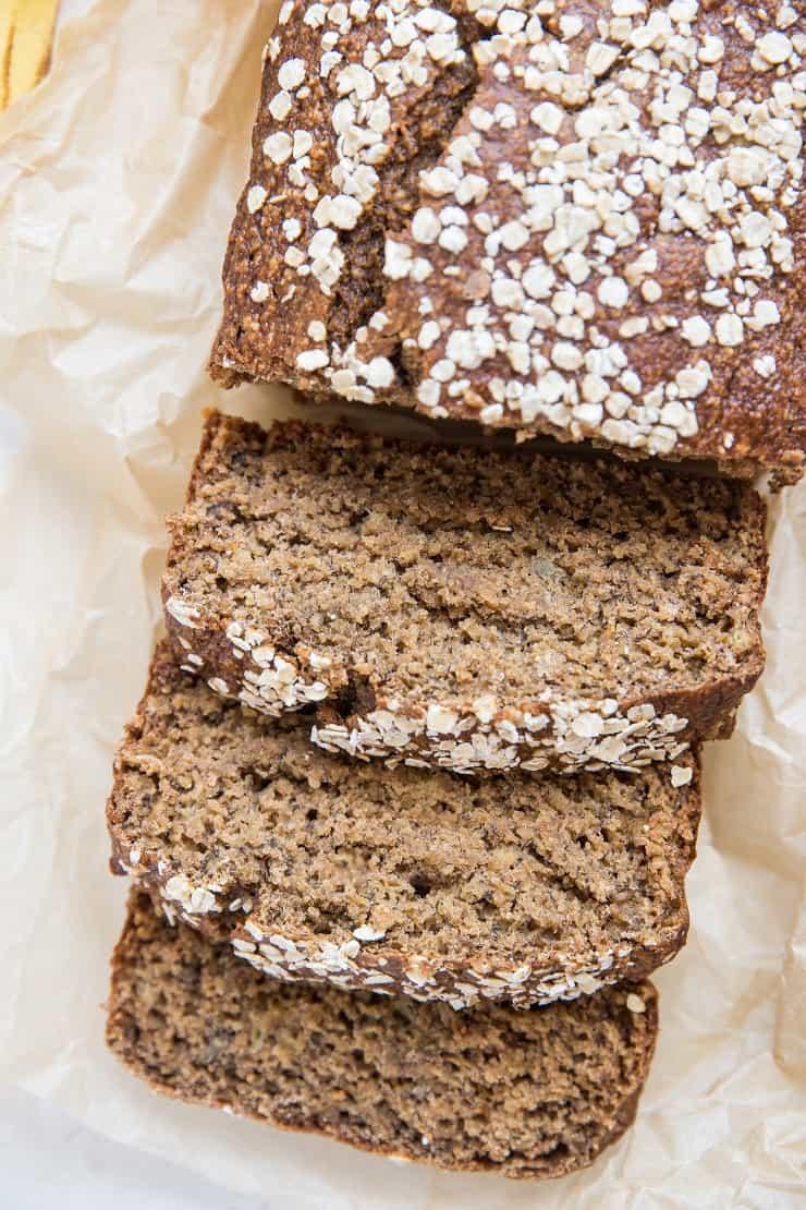 Loaf of gluten-free oatmeal banana bread