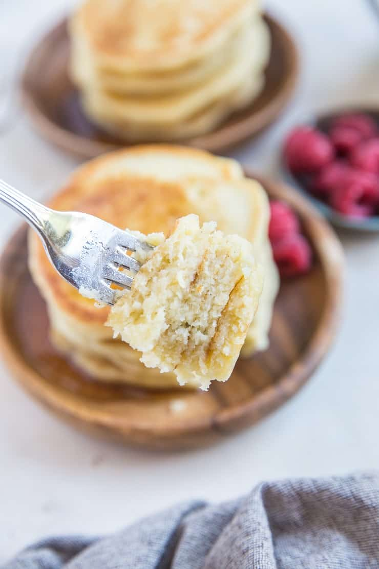 close up photo of bite of fluffy pancakes